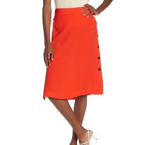 Madewell Button Side Midi skirt persimmon D16